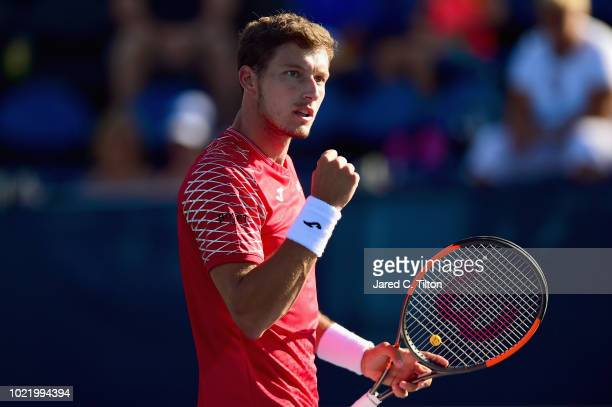 Pablo Carreno Busta of Spain reacts following a point against Hyeon Chung of Korea during their quarterfinals match on day four of the WinstonSalem...