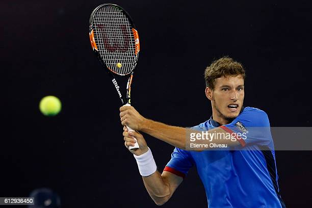 Pablo Carreno Busta of Spain returns a shot against Richard Gasquet of France during the Men's singles second round match on day six of the 2016...