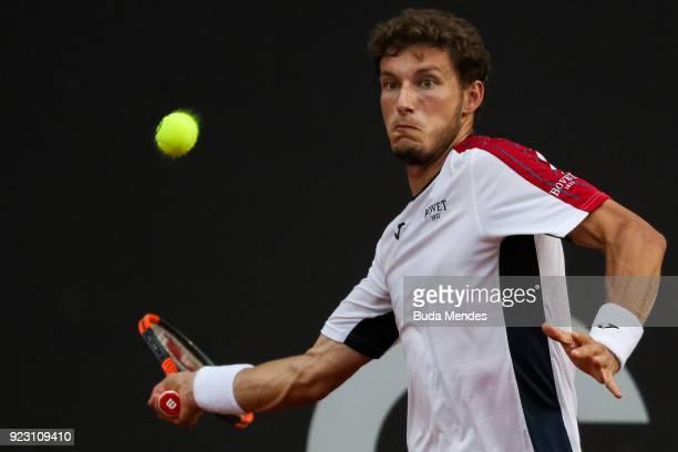 Pablo Carreno Busta of Spain returns a shot to Aljaz Bedene of Slovenia during the ATP Rio Open 2018 at Jockey Club Brasileiro on February 22 2018 in...