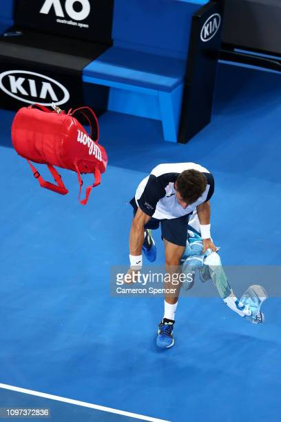 Pablo Carreno Busta of Spain shows his frustration after losing his fourth round match against Kei Nishikori of Japan during day eight of the 2019...