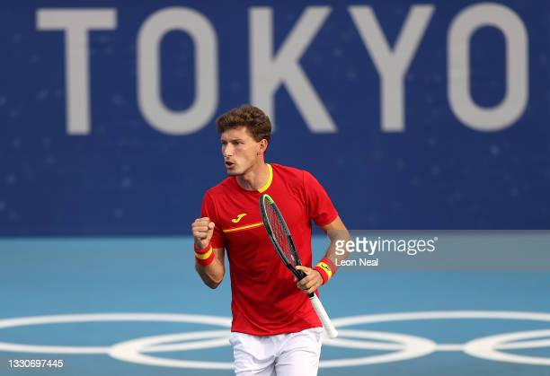 Pablo Carreno Busta of Team Spain celebrates after a point during his Men's Singles Second Round match against Marin Cilic of Team Croatia on day...