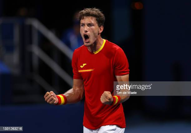 Pablo Carreno Busta of Team Spain celebrates victory after his Men's Singles Quarterfinal match against Daniil Medvedev of Team ROC on day six of the...