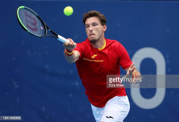 Pablo Carreno Busta of Team Spain plays a forehand during his Men's Singles Semifinal match against Karen Khachanov of Team ROC on day seven of the...