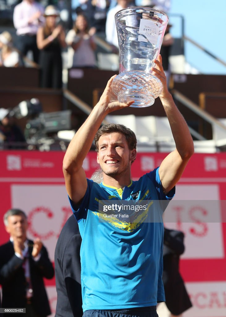 Pablo Carreno Busta with the trophy at the end of the Final match between Pablo Carreno Busta from Spain and Gilles Muller from Luxembourg for the Millennium Estoril Open at Clube de Tenis do Estoril on May 7, 2017 in Estoril, Portugal.