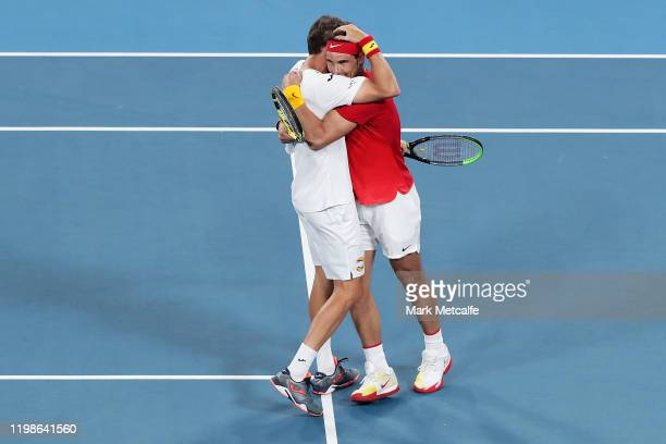 Pablo Carreño Busta and Rafael Nadal of Spain celebrate winning match point during during their quarter final doubles match against Sander Gille and...