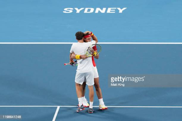 Pablo Carreño Busta and Rafael Nadal of Spain celebrates winning match point during their quarter final doubles match against Sander Gille and Joran...