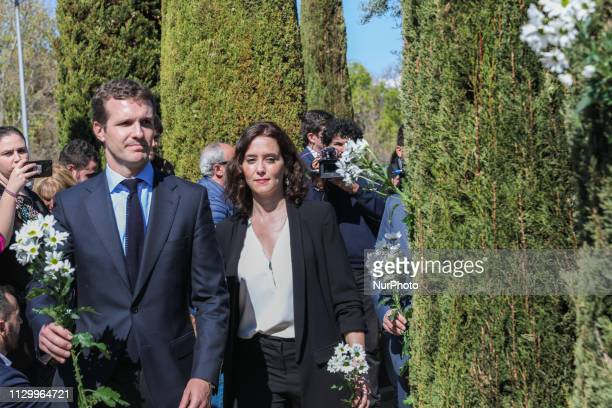 Pablo Casado and Isabel DiazAyuso seen attending the event of the The Association of Victims of Terrorism in the El Retiro Park in Madrid Spain on 11...