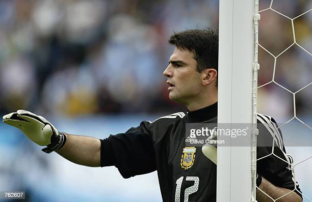 Pablo Cavallero of Argentina in action during the FIFA World Cup Finals 2002 Group F match between Argentina and Sweden played at the Miyagi Stadium...