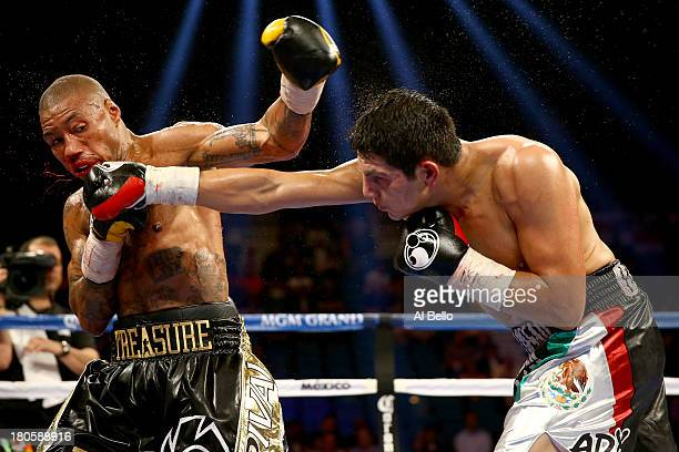 Pablo Cesar Cano throws a left to the head of Ashley Theophane during their welterweight fight at the MGM Grand Garden Arena on September 14, 2013 in...