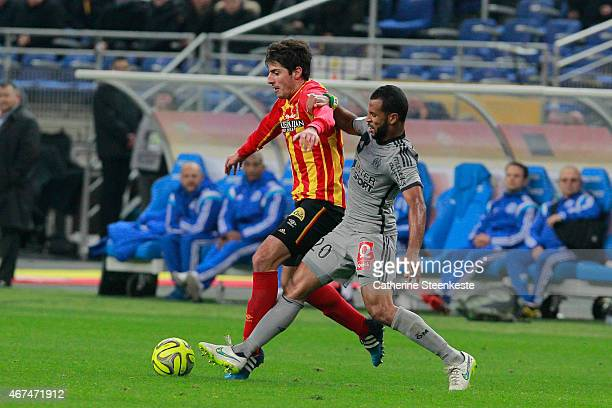 Pablo Chavarria of RC Lens tries to control the ball against Alaixys Romao of Olympique de Marseille during the game between RC Lens and Olympique de...