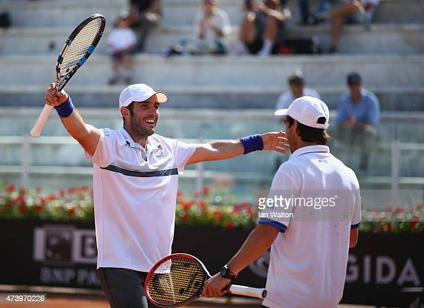 Pablo Cuevas of Argentina and David Marrero of Spain celebrates winning their Men's Doubles Final match against Marcel Granollers and Marc López of...