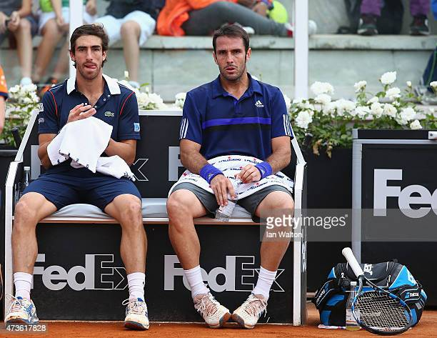 Pablo Cuevas of Argentina and David Marrero of Spain during their Men's Semi Final against Kevin Anderson of South Africa and Jérémy Chardy of France...