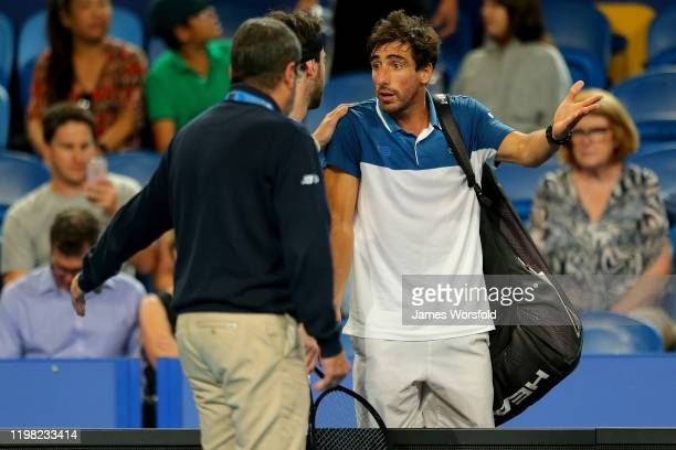 Pablo Cuevas of Team Uruguay argues with the officials over a violation during day six of the 2020 ATP Cup Group Stage at RAC Arena on January 08,...