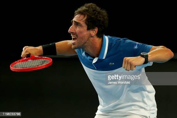Pablo Cuevas of Team Uruguay gets himself pumped up for the next game during day six of the 2020 ATP Cup Group Stage at RAC Arena on January 08, 2020...