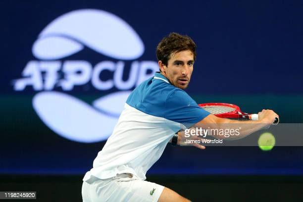 Pablo Cuevas of Team Uruguay watches the ball as he lines up his shot during day six of the 2020 ATP Cup Group Stage at RAC Arena on January 08, 2020...