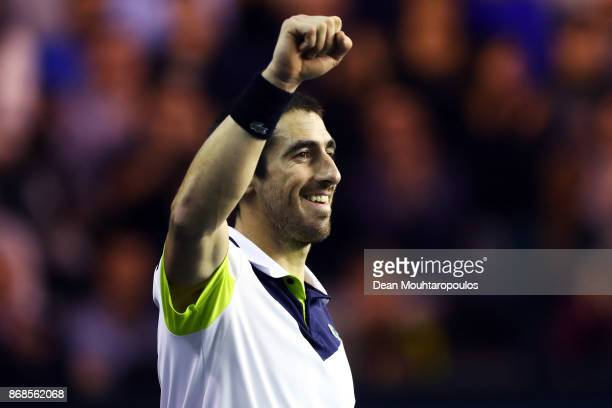 Pablo Cuevas of Uraguay celebrates victory against Karen Khachanov of Russia during Day 2 of the Rolex Paris Masters held at the AccorHotels Arena on...