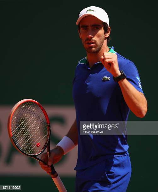Pablo Cuevas of Uruguay celebrates a point against Lucas Pouille of France in their quarter final round match on day six of the Monte Carlo Rolex...