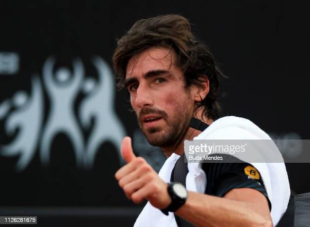 Pablo Cuevas of Uruguay celebrates the victory after winning Diego Schwartzman of Argentina during the ATP Rio Open 2019 at Jockey Club Brasileiro on...