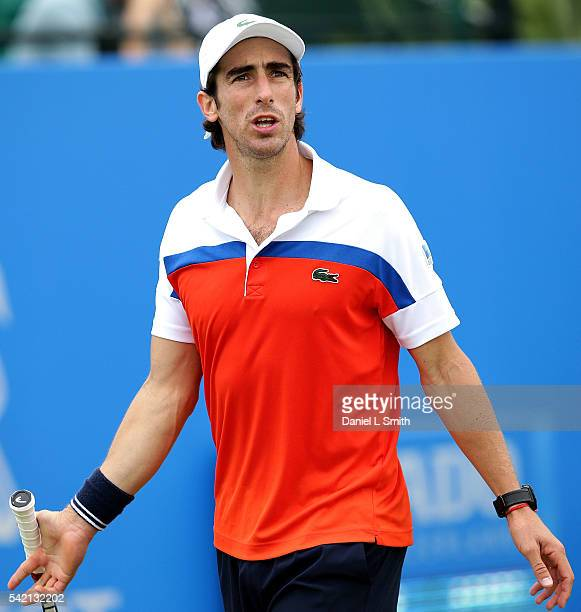 Pablo Cuevas of Uruguay gestures in frustration during his men's singles match against Daniel Evans of Great Britain during day three of the ATP...