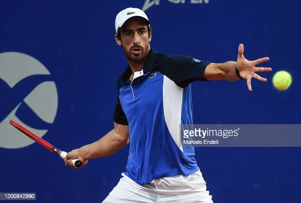 Pablo Cuevas of Uruguay hits a forehand during his Men's Singles match against Diego Schwartzman of Argentina during day 5 of ATP Buenos Aires...