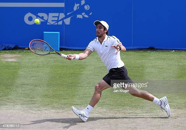 Pablo Cuevas of Uruguay in action against Sam Querrey of USA on day four of the Aegon Open Nottingham at Nottingham Tennis Centre on June 24 2015 in...