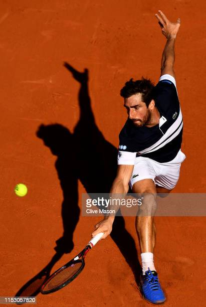 Pablo Cuevas of Uruguay plays a backhand during his mens singles third round match against Dominic Thiem of Austria during Day seven of the 2019...