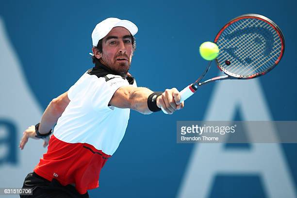 Pablo Cuevas of Uruguay plays a backhand in his quarter final match against Gilles Muller of Luxembourg during day five of the 2017 Sydney...