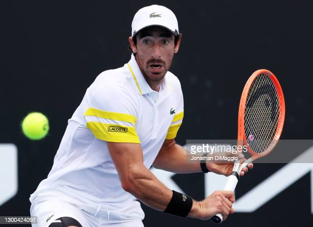 Pablo Cuevas of Uruguay plays a backhand in his singles match against Hubert Hurkacz of Poland during day five of the ATP 250 Great Ocean Road Open...