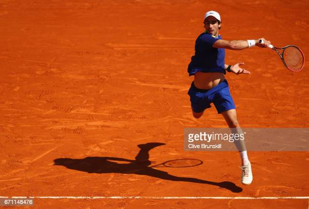 Pablo Cuevas of Uruguay plays a forehand against Lucas Pouille of France in their quarter final round match on day six of the Monte Carlo Rolex...