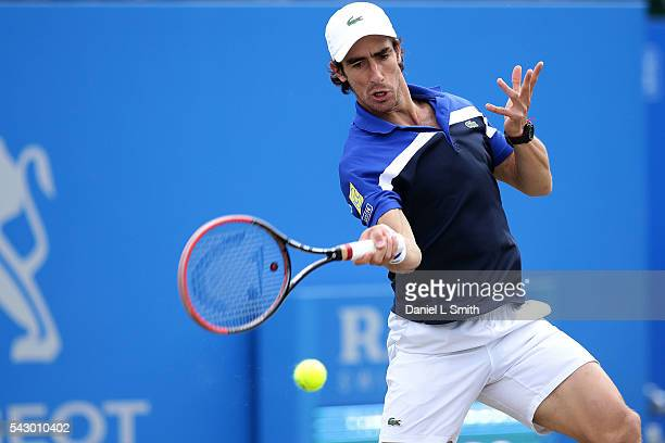 Pablo Cuevas of Uruguay plays a forehand during his men's singles final match against Steve Johnson of USA during day six of the ATP Aegon Open...