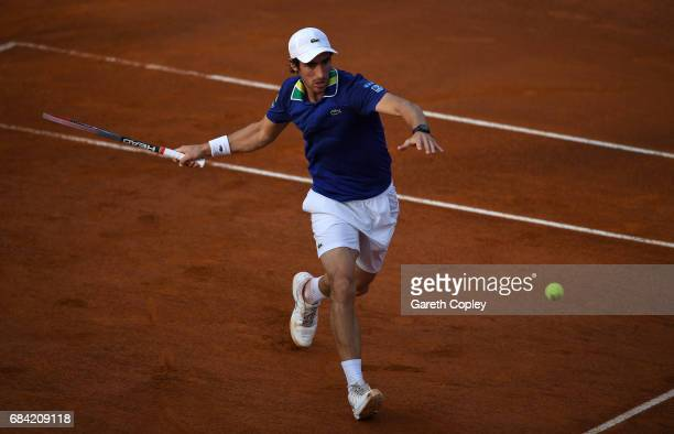 Pablo Cuevas of Uruguay plays a shot during his second round match against Dominic Thiem of Austria in The Internazionali BNL d'Italia 2017 at Foro...