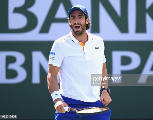 Pablo Cuevas of Uruguay reacts as he loses the first set to Hyeon Chung of South Korea during the BNP Paribas Open at the Indian Wells Tennis Garden...