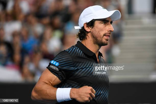 Pablo Cuevas of Uruguay reacts in his second round match against Grigor Dimitrov of Bulgaria during day three of the 2019 Australian Open at...