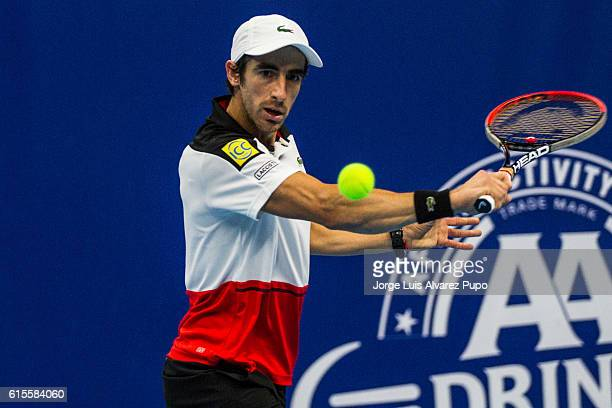 Pablo Cuevas of Uruguay returns a shot against Jozef Kovalik of Slovakia during the Men's singles 16th finals match of the European Open at Lotto...