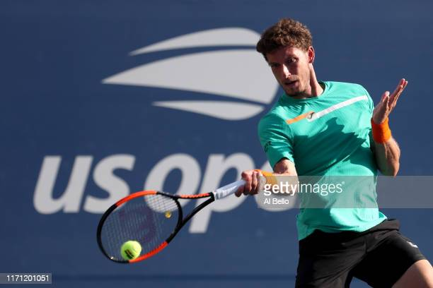Pablo Cuevas of Uruguay returns a shot during his Men's Singles third round match against David Goffin of Belgium on day five of the 2019 US Open at...
