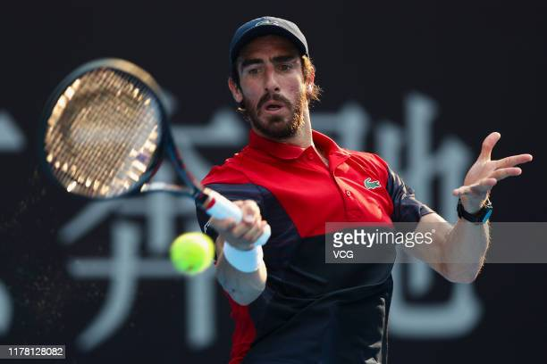 Pablo Cuevas of Uruguay returns a shot in the Men's Singles first round match against Karen Khachanov of Russia on Day three of 2019 China Open at...