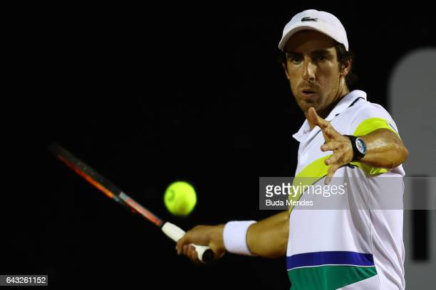 Pablo Cuevas of Uruguay returns a shot to Arthur de Greef of Belgium during the ATP Rio Open 2017 at Jockey Club Brasileiro on February 20 2017 in...