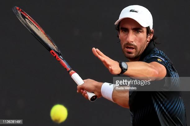 Pablo Cuevas of Uruguay returns a shot to Diego Schwartzman of Argentina during the ATP Rio Open 2019 at Jockey Club Brasileiro on February 20, 2019...