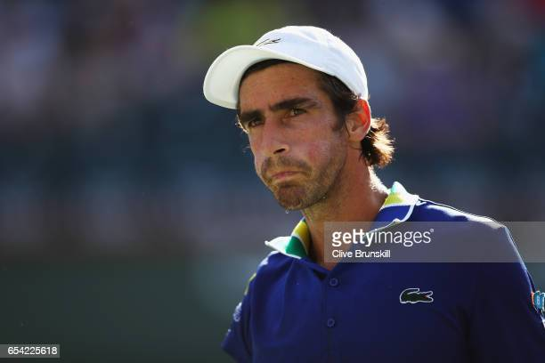 Pablo Cuevas of Uruguay shows his dejection during the tie break change over against Pablo Carreno Busta of Spain in their quarter final match during...