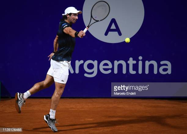 Pablo Cuevas of Uruguay takes a backhand shot against Dominc Thiem of Austria during the Argentina Open ATP 250 2019 at Buenos Aires Lawn Tennis Club...
