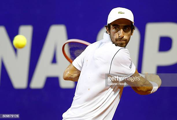 Pablo Cuevas of Uruguay takes a backhand shot during a match between Pablo Cuevas of Uruguay and David Ferrer of Spain as part of ATP Argentina Open...