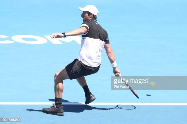 Pablo Cuevas or Uruguay plays a backhand in his first round match against Taro Daniel of Japan during day two of the ASB Men's Classic at ASB Tennis...