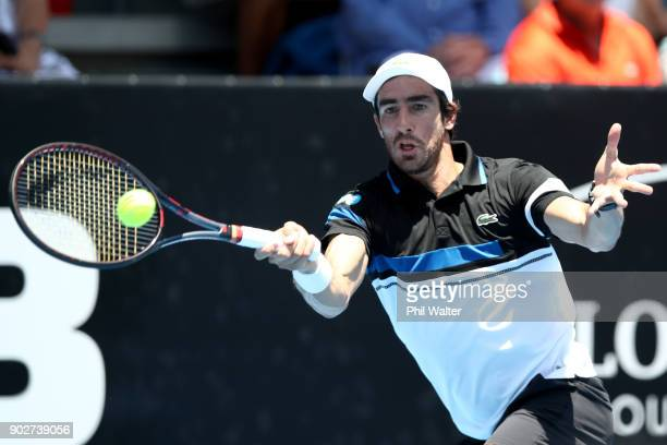 Pablo Cuevas or Uruguay plays a forehand in his first round match against Taro Daniel of Japan during day two of the ASB Men's Classic at ASB Tennis...
