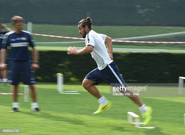 Pablo Daniel Osvaldo during FC Internazionale Training Session at Appiano Gentile on September 16 2014 in Como Italy