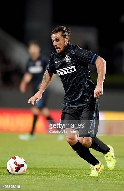 Pablo Daniel Osvaldo in action during the UEFA Europa League Qualifying PlayOffs Round first leg match between Stjarnan and FC Internazionale at...