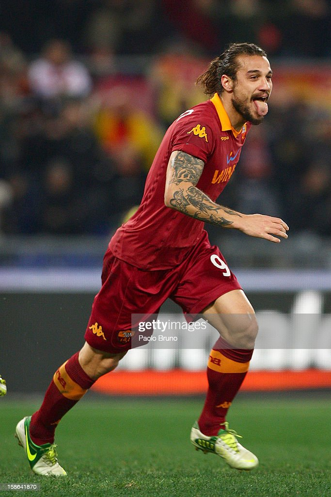 Pablo Daniel Osvaldo of AS Roma celebrates after scoring the second team's goal during the Serie A match between AS Roma and AC Milan at Stadio Olimpico on December 22, 2012 in Rome, Italy.