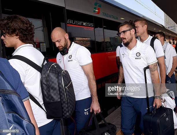 Pablo Daniel Osvaldo of FC Internazionale departs for Florence at on October 4 2014 in Milan Italy