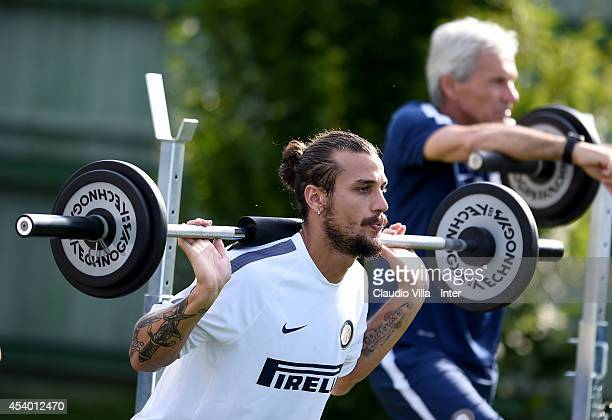 Pablo Daniel Osvaldo of FC Internazionale during training session at Appiano Gentile on August 23 2014 in Como Italy