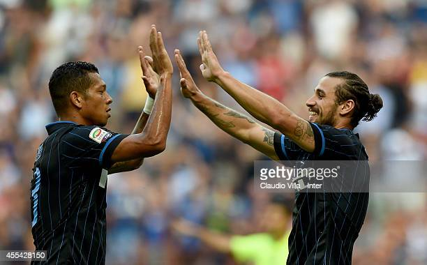 Pablo Daniel Osvaldo of FC Internazionale Milano celebrates his second goal during the Serie A match between FC Internazionale Milano and US Sassuolo...