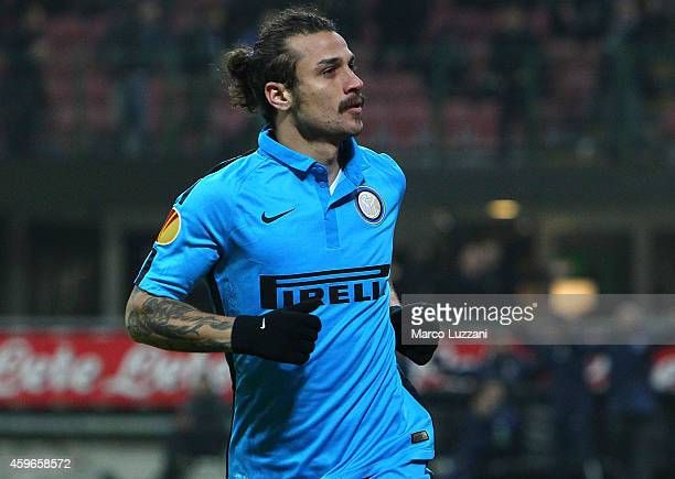 Pablo Daniel Osvaldo of FC Internazionale Milano celebrates his goal during the UEFA Europa League Group F match between FC Internazionale Milano and...